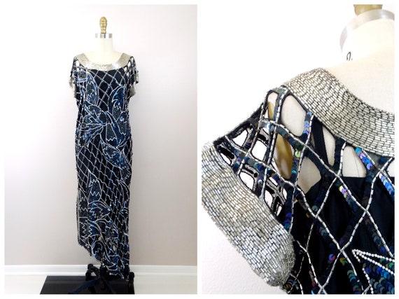 VTG Silk Netted All Embellished Dress // Completel
