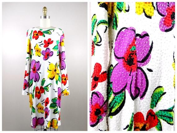 L/XL 90s Retro Floral Beaded Dress / Bright White