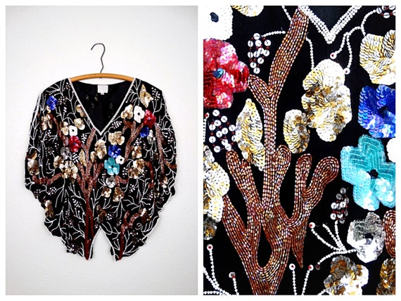 White Sequin Floral Art Deco Top  Fully Embellished Silk Blouse  Pink Purple Red Blue Sequined Beaded Top Large XL