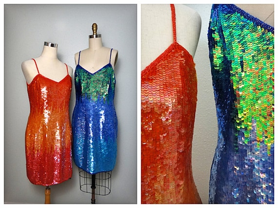 Ombre Sequin Dresses / Chameleon Blue Green and Or