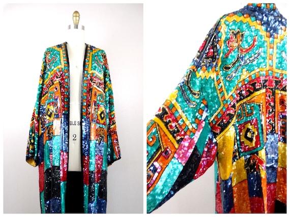 Geometric Sequin Overcoat / Boho Turquoise Red Ora
