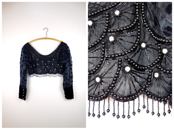 Antique Crystal Beaded Fringe Crop Top / Dressy Vi