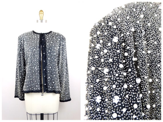 Heavy Pearl Beaded Jacket // Heavily Beaded Blaze… - image 7