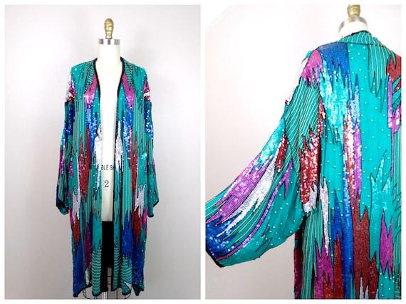 DAZZLING Couture Sequined Kimono / Turquoise Silk