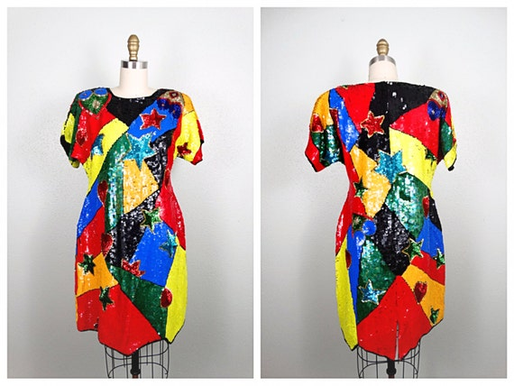 ABSTRACT Bright Sequin Dress // Multicolor Colorbl