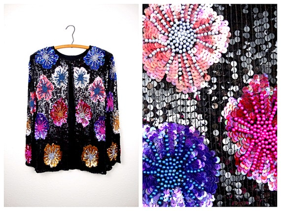 Bright Beaded Sequined Jacket / Colorful Floral Se