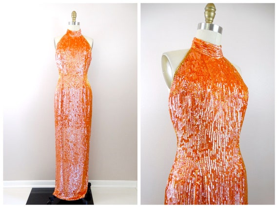 EXQUISITE Orange Gold Beaded Gown / Heavily Beaded