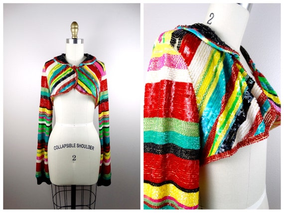 RARE Bright Sequin Mini Jacket / Striped Sequin Cr