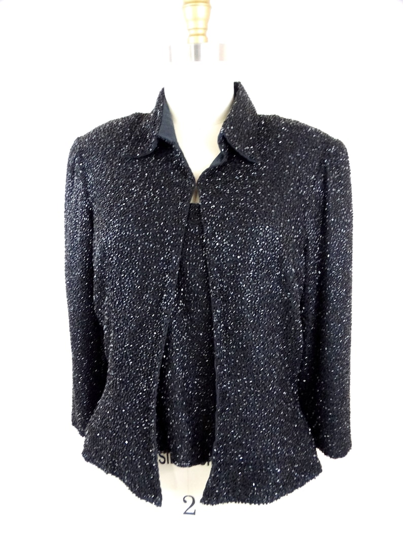 Heavy Beaded Top Jacket by Cache  Heavily Embellished Fully Beaded Top and Matching Jacket SM