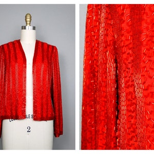 SM Silver Bugle Bead Evening Jacket  White Gray Silver Beaded Silk Jacket by Victoria Royal LTD