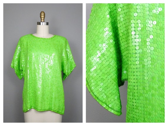 Fully Sequined Neon Green Top / Lime Green Sequin