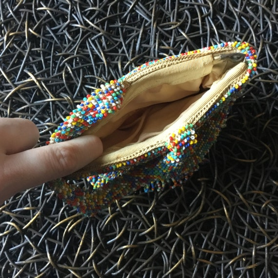 30s 40s Vintage Seed Beaded Clutch // Hand Beaded… - image 6