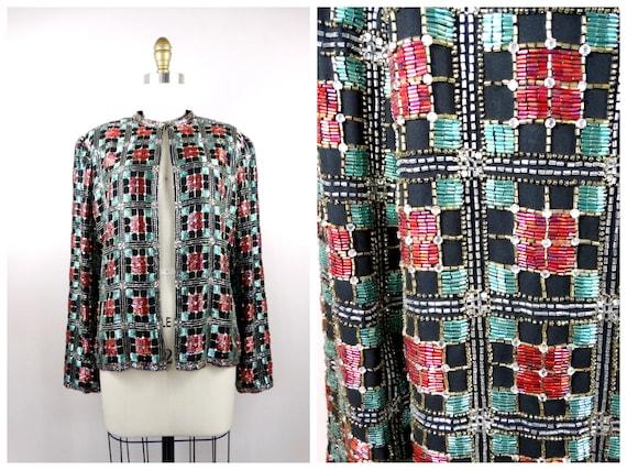 Vintage Crystal Beaded Rhinestone Jacket // Heavil