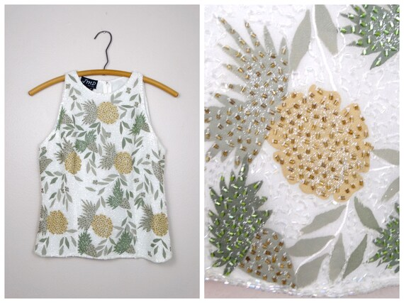VTG Pineapple Beaded Top // Tropical Island Fruit