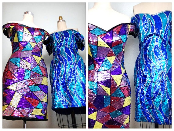 1980's Sequin Party Dress / 80s Mosaic Sequined Dr