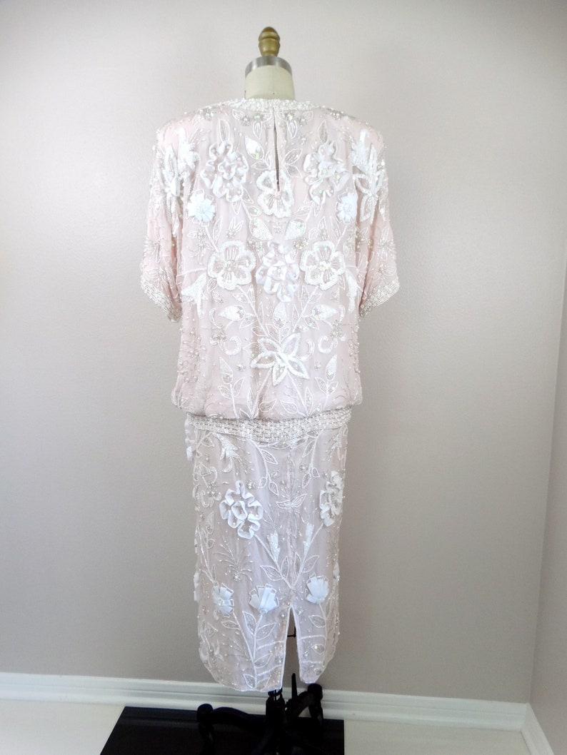 ML Iridescent Sequined Dress  Pastel Blush Pink Sequin Dress  Pearl White Beaded Dropwaist Dress by Judith Ann