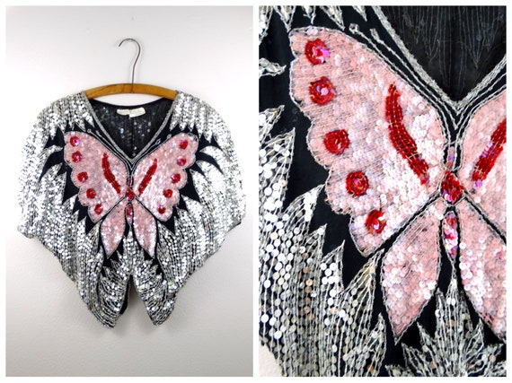 80s Mirror Sequined Butterfly Top // 1980s Silk Be