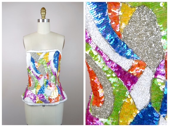 Whimsical Beaded Sequin Bustier // Iridescent Sequ