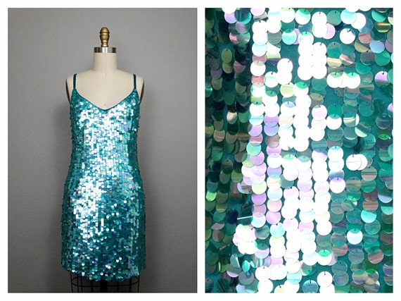 S/M Pastel Paillette Sequined Dress // Iridescent