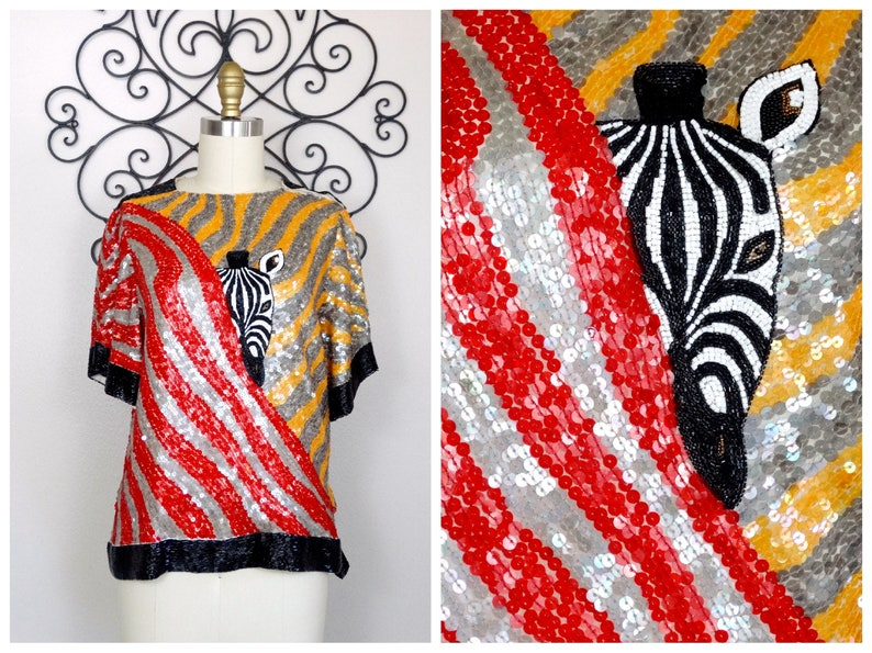 Wild Sequined Novelty Top  Red /& White Sequin Striped Top  Rare Beaded Zebra Top