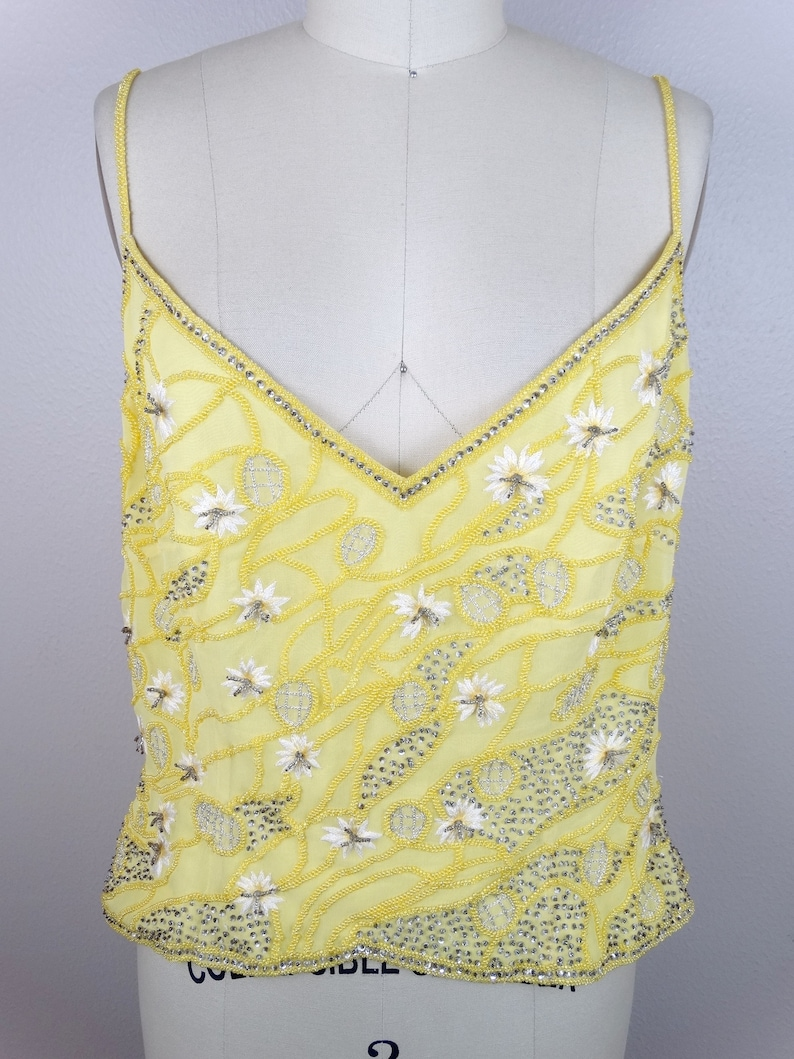 ESCADA Pastel Yellow Beaded Top  Floral Embellished Designer Top Size 40