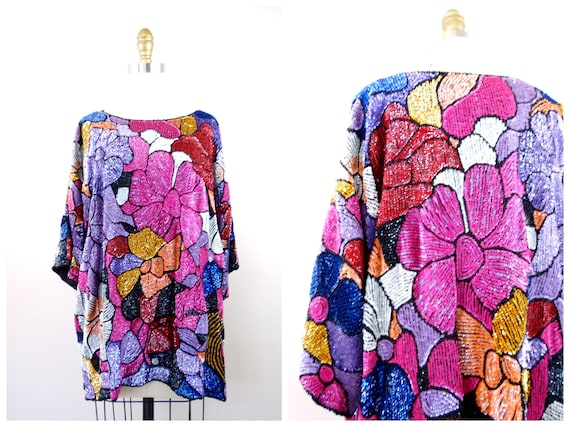 Plus Size Floral Sequined Top // Bright Embellishe