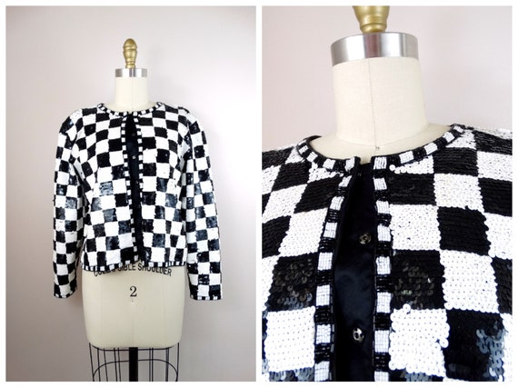 3a6ac5904b28 Black   White Mod Sequin Jacket    80s 90s Retro Checkered