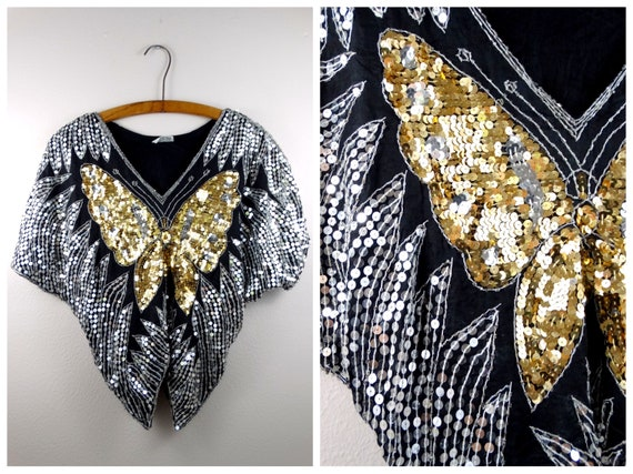 VTG Batwing Sequin Top // Gold and Silver Sequin E