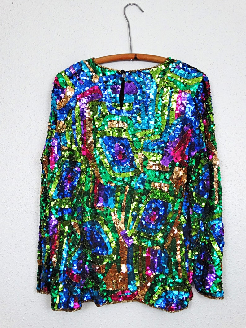 Stained Glass Sequin Blouse  Bold Green Blue Pink Art Deco Sequined Top  Mosaic Abstract Peacock Embellished Top