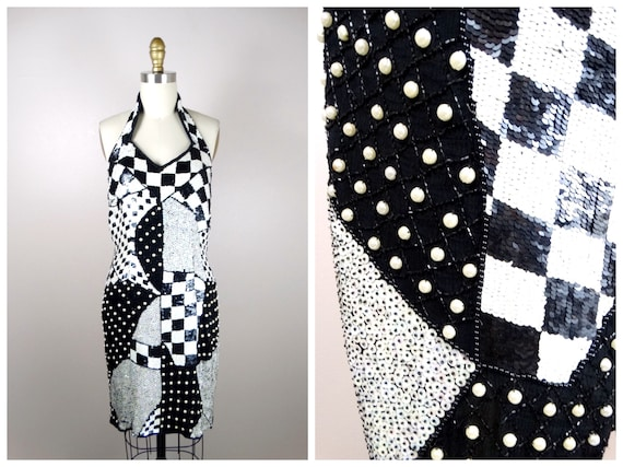 GLAM Art Deco Sequin Open Top  Argyle Checkered Black White and Blue Long Sequined Evening Jacket  Retro Sequin Jacket