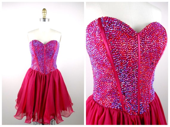 Ruby Red Rhinestone Embellished Party Dress // 90'