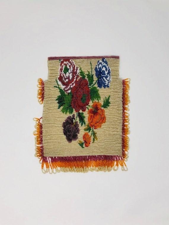 20's Art Deco Beaded Bag // Floral Flapper Beaded