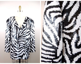 M/L Wild Zebra Sequined Blazer / Black and White Sequined Evening Jacket / Black and White Fully Sequined Coat