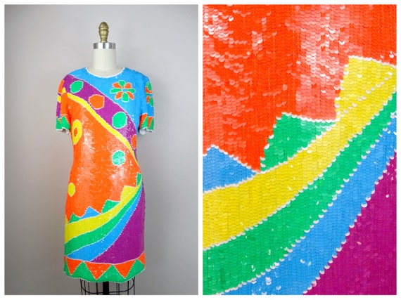 Funky Vintage Sequined Dress // Psychedelic NEON S