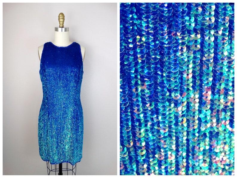 Green Blue Sequin Dress