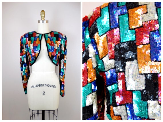 L | Jewel Tone Sequined Bolero Jacket / Jeweled Se