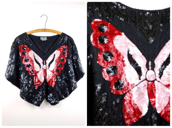 80s Sequined Butterfly Top // 1980s Silk Beaded Ba
