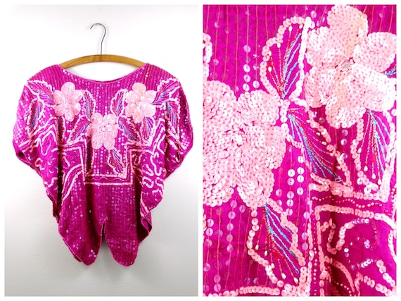Vtg Neon Pink Sequined Batwing Top // Hot Pink & P