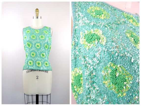Chartreuse Green Beaded Top / Iridescent Sequined