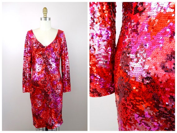 Hot Pink Sequined Dress // Neon Pink & Red Sequin