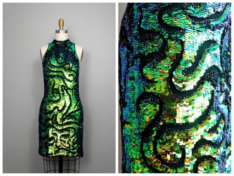 Sequin Chameleon Green Mermaid Dress Iridescent BlueEtsy mN0n8w