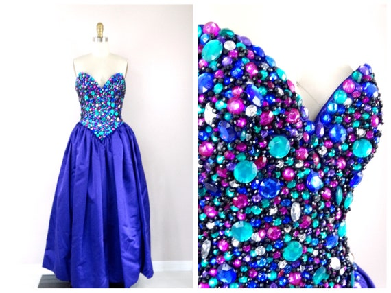 Vintage Couture Jewel Beaded Gown Heavy Beaded Sequined Evening Dress Purple Embellished Strapless Bustier Ball Gown