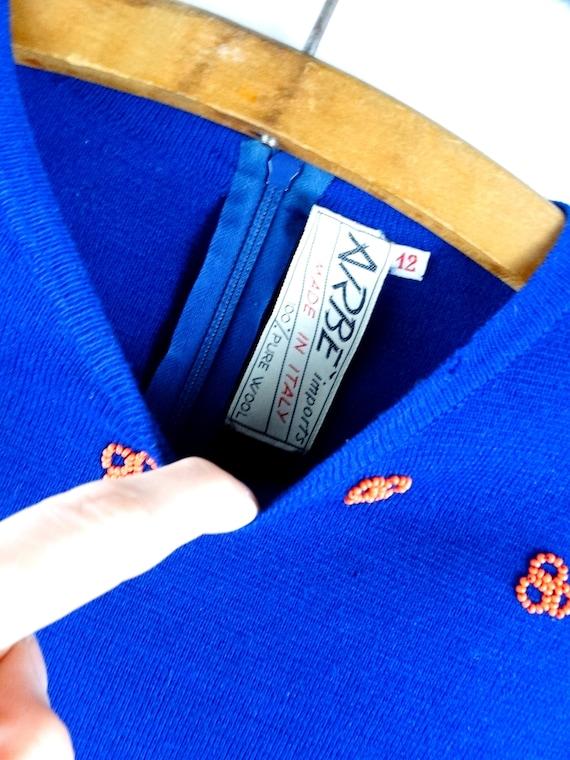 60s Italian Beaded Bright Blue Wool Top / Neon Or… - image 2