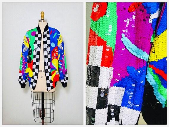80s Retro Sequined Jacket // Rainbow Sequined Bomb