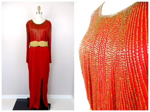 Plus Size Deco Beaded Gown / Red and Gold Beaded D