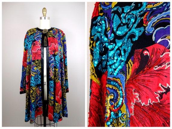 Vintage Glam Sequin Evening Coat / Red Purple Turq