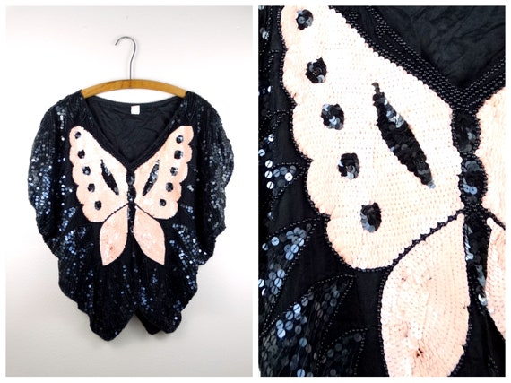 VTG Batwing Sequin Top // Peach and Black Beaded B