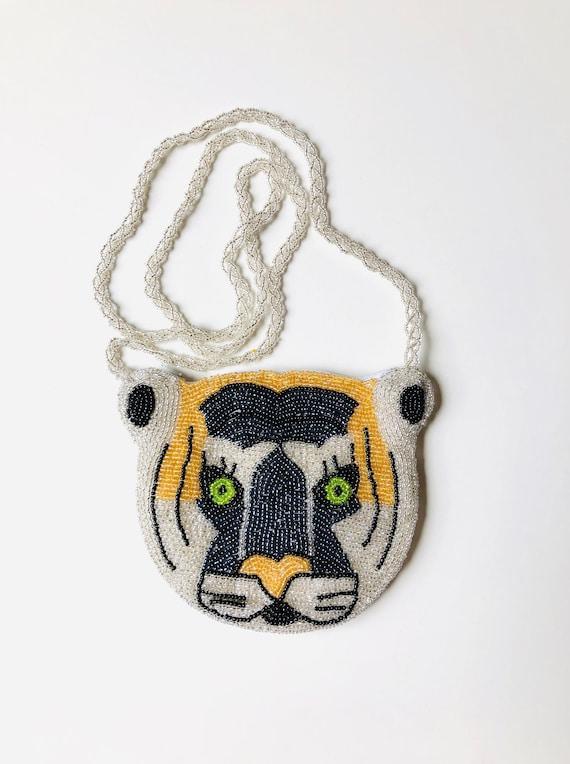 Novelty Beaded Bag / Big Cat Face Purse / Embellis