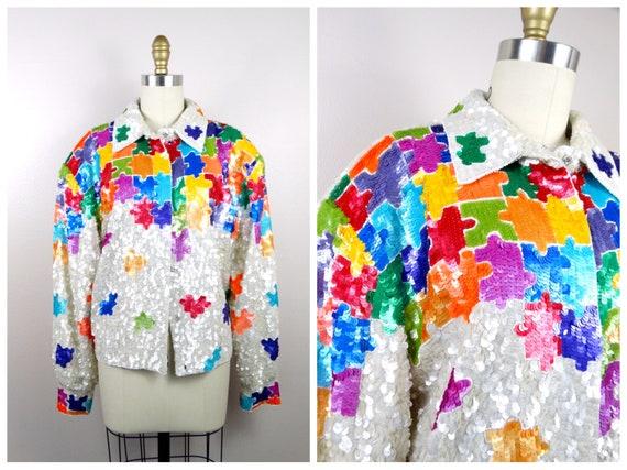 GLAM Embellished Sequined Jacket / Rainbow Puzzle