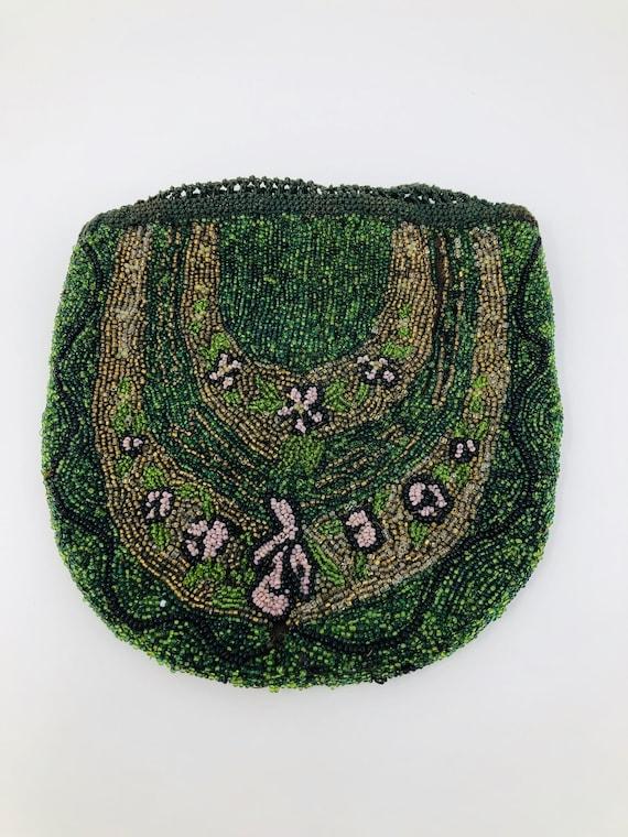 1924 Beaded Art Deco Bag // Irish Green Beaded Bag